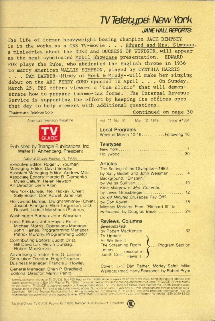 TV GUIDE Harry Reasoner Dan Rather Morley Safer Mike Wallace Olympics 3/10 1979