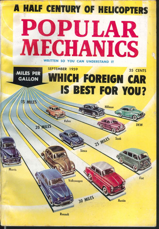 POPULAR MECHANICS Renault Austin Fiat Volkswagen Saab Volvo DKW Simca ++ 9 1959