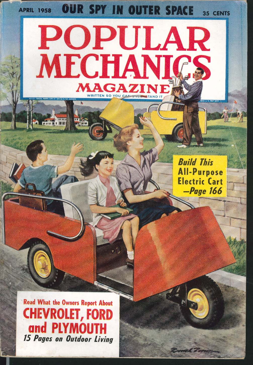 POPULAR MECHANICS Chevrolet Ford Plymouth owners report Outdoor Living 4 1958