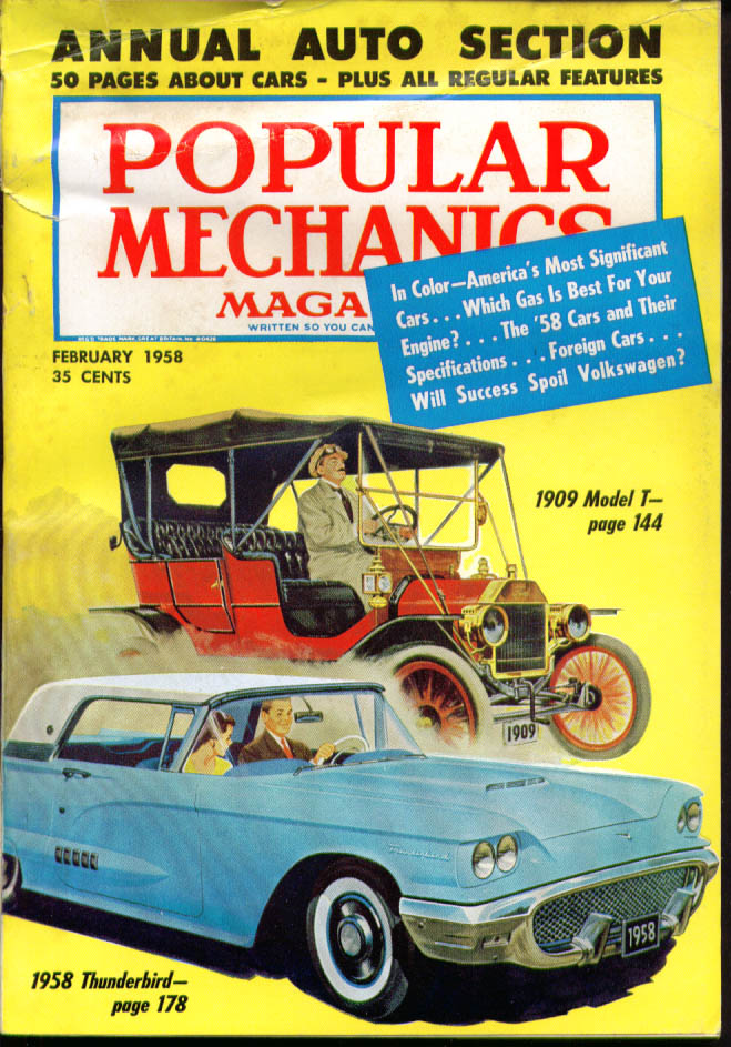 POPULAR MECHANICS 1909 Model T 1958 Ford Thunderbird Volkswagen 2 1958