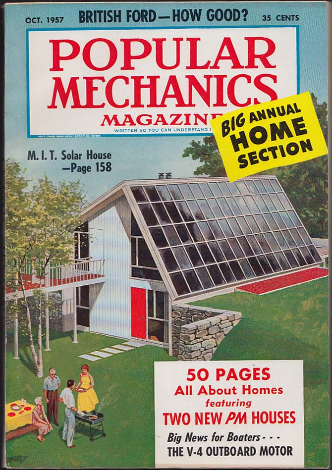 POPULAR MECHANICS British Ford V-4 Outboard Motor MIT Solar House 10 1957