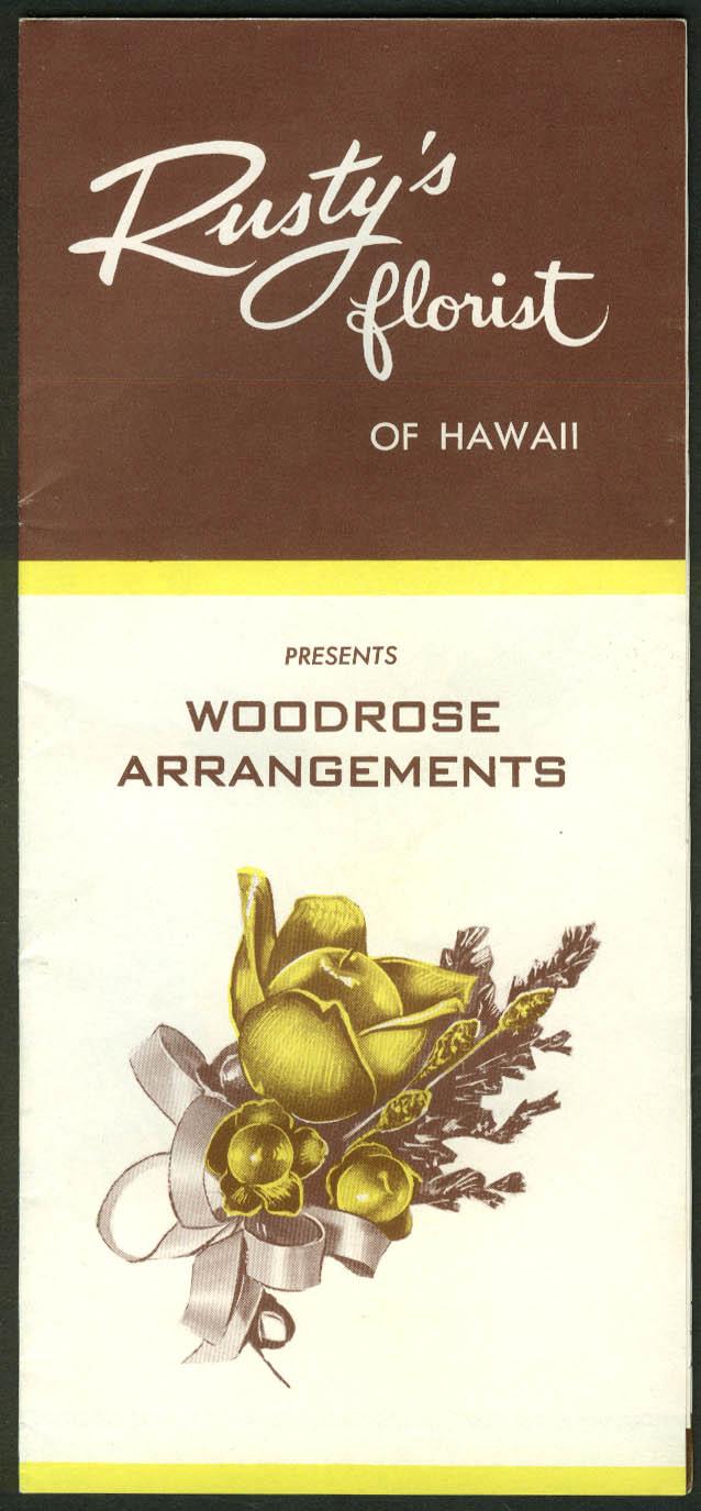 Rusty's Florist of Hawaii Woodrose Arrangements sales folder 1957