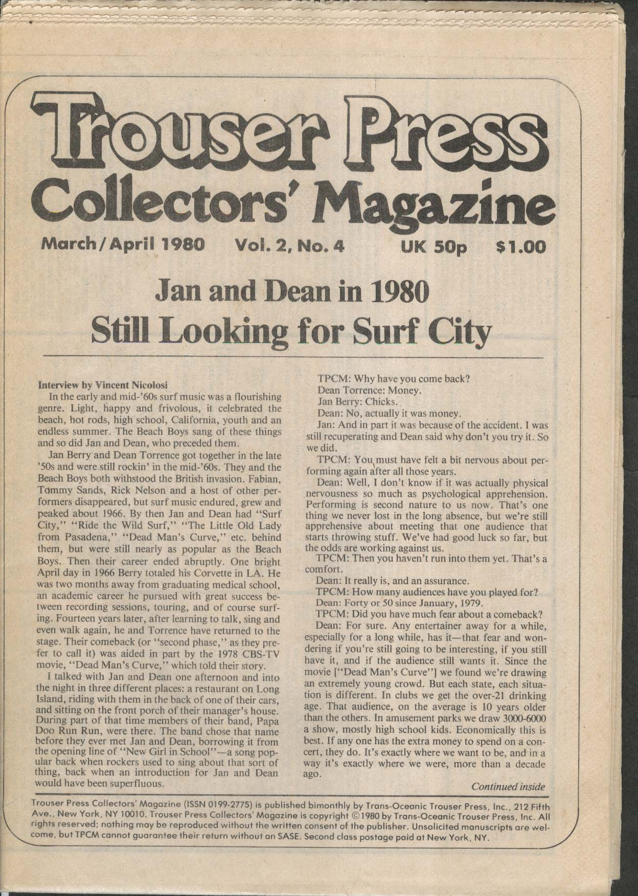 TROUSER PRESS Collectors' Magazine Jan & Dean 3-4 1980