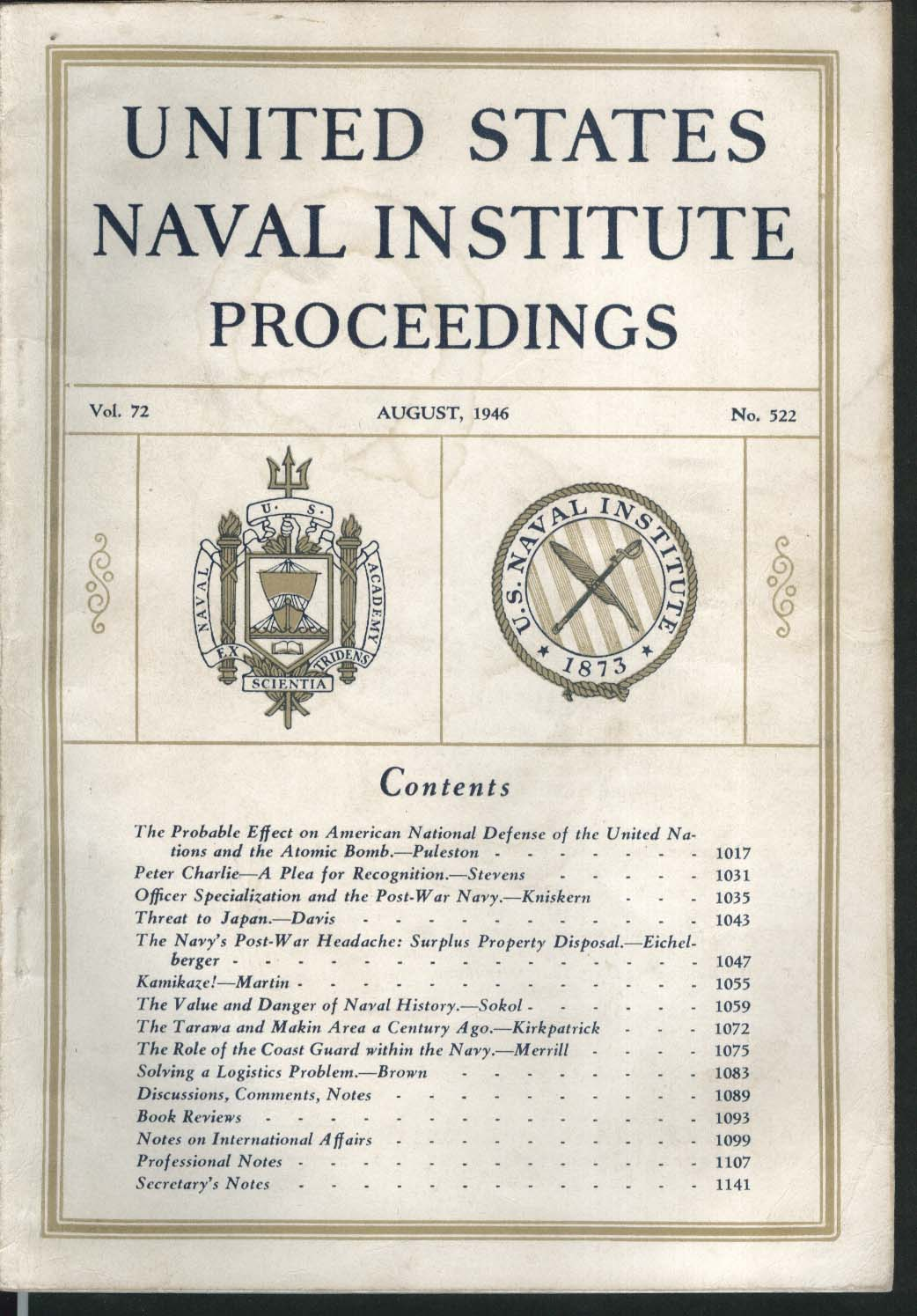UNITED STATES NAVAL INSTITUTE PROCEEDINGS Peter Charlie Ralph Stevens ++ 8 1946