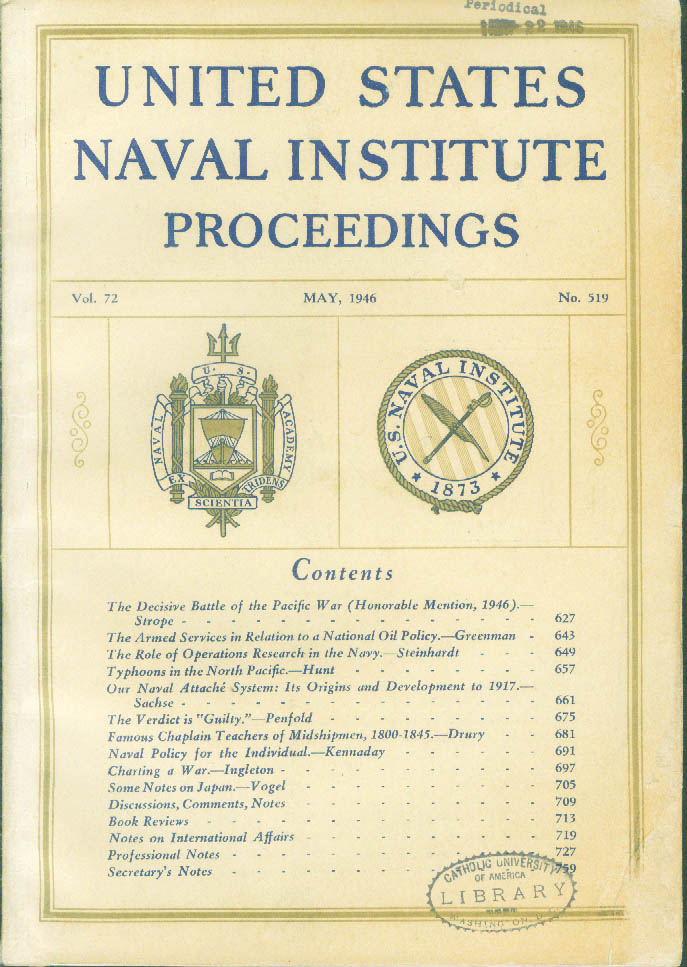 UNITED STATES NAVAL INSTITUTE PROCEEDINGS William Greenman Oil Policy + 5 1946