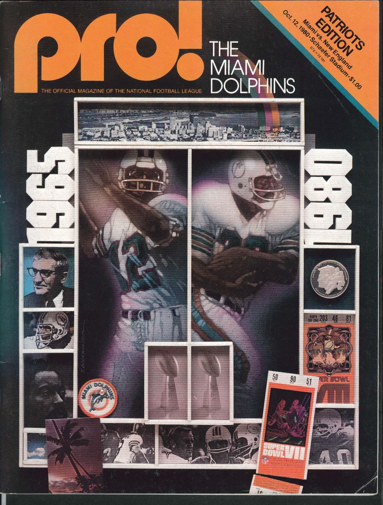 PRO! Miami Dolphins Patriots Edition Schaefer Stadium 10/11 1980