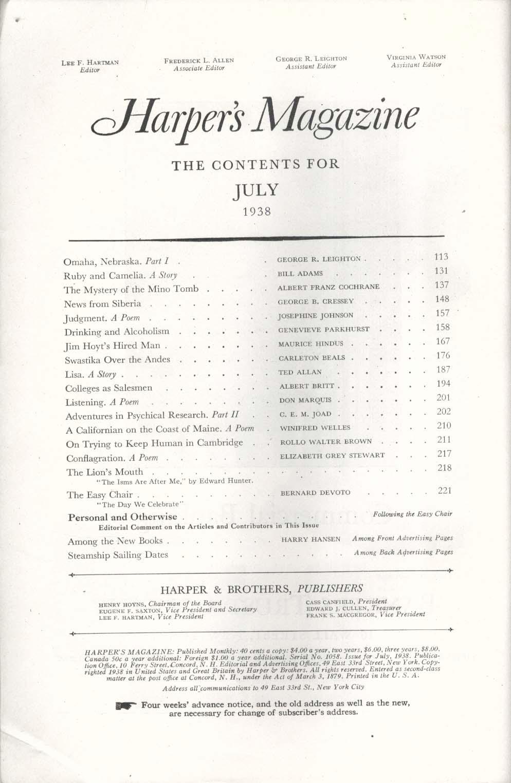 HARPER'S Albert Franz Cochrane George Cressey Genevieve Parkhurst 7 1938