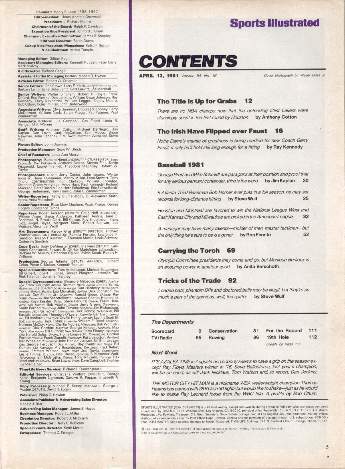 SPORTS ILLUSTRATED George Brett Mike Schmidt Gerry Faust Bob Horner 4/13 1981