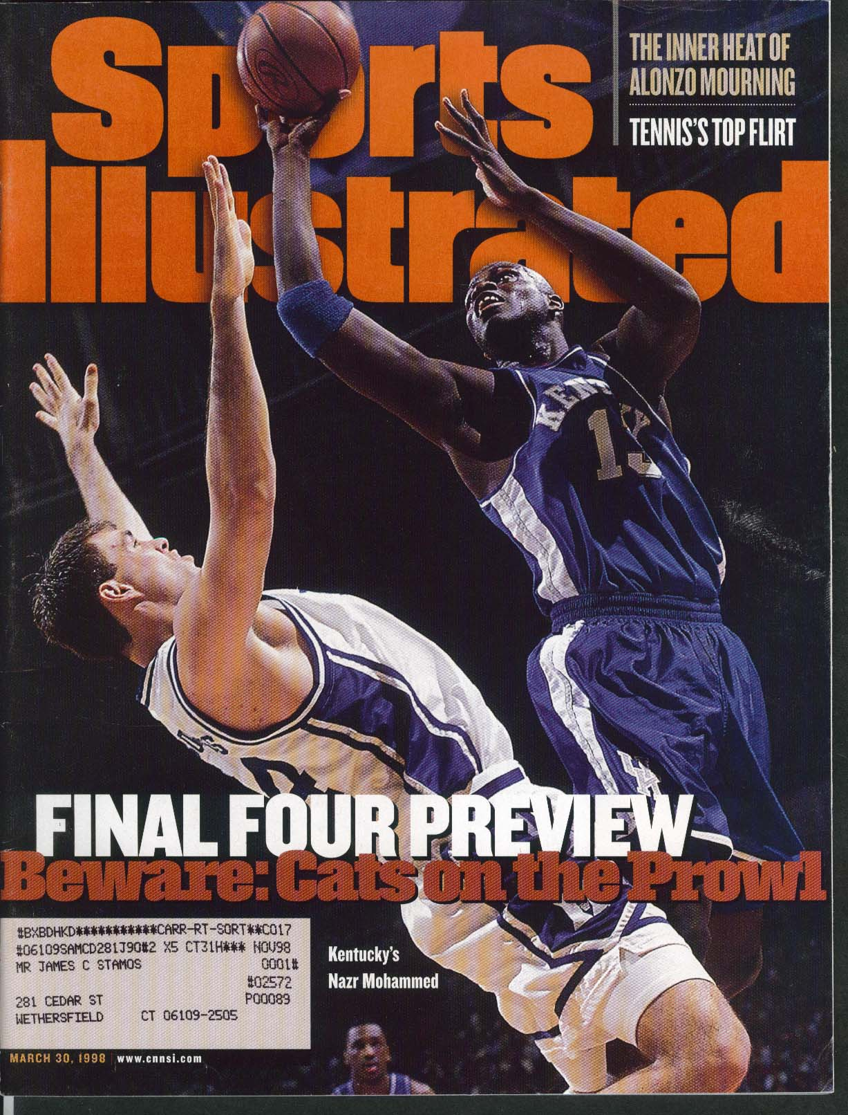 SPORTS ILLUSTRATED Nazr Mohammed Anna Kournikova Alonzo Mourning 3/30 1998