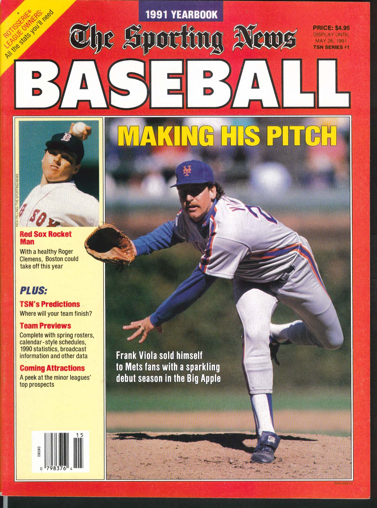 SPORTING NEWS 1991 Baseball Yearbook Frank Viola Roger Clemens