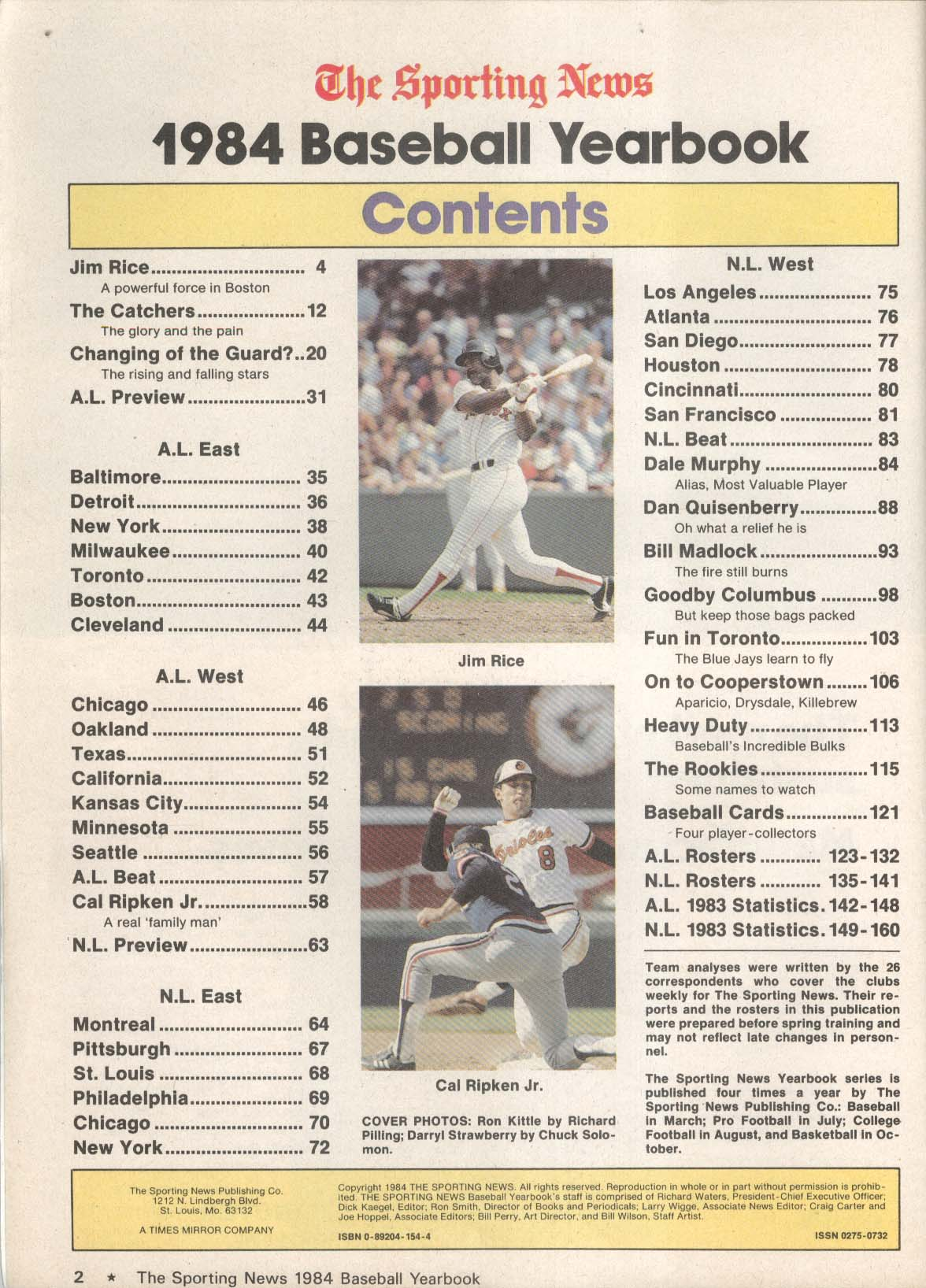 SPORTING NEWS 1984 Baseball Yearbook Jim Rice Ron Kittle Darryl Strawberry