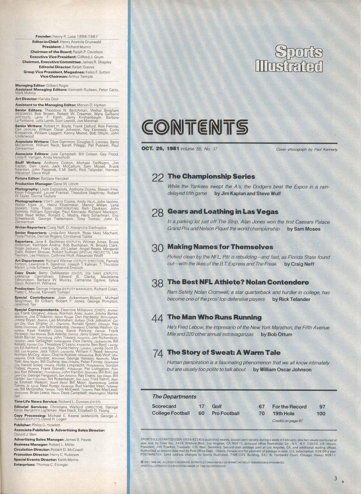 SPORTS ILLUSTRATED Graig Nettles Alan Jones Nolan Cromwell Fred Lebow 10/26 1981