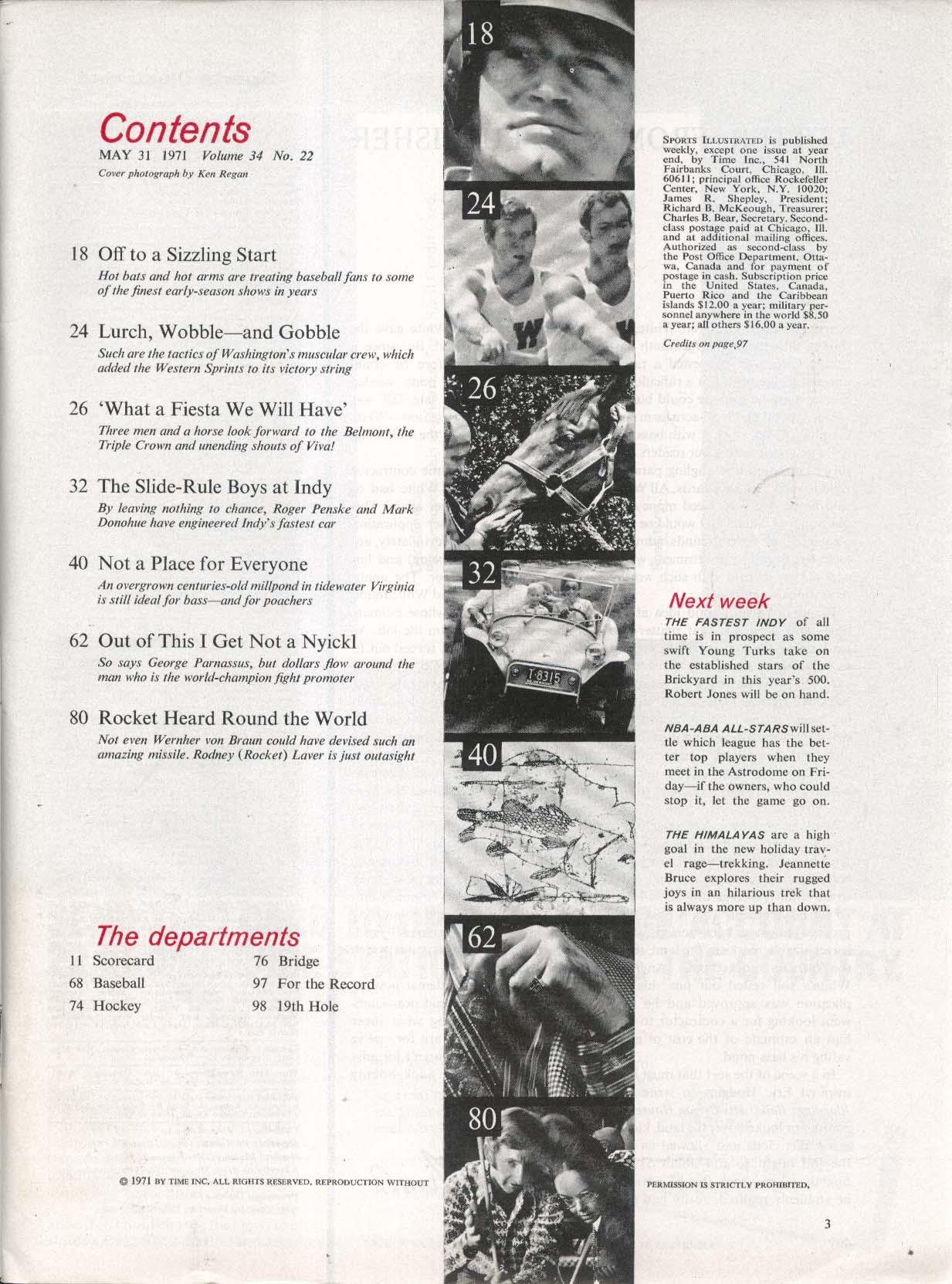 SPORTS ILLUSTRATED Vida Blue Roger Penske Mark Donohue Rodney Laver 5/31 1971