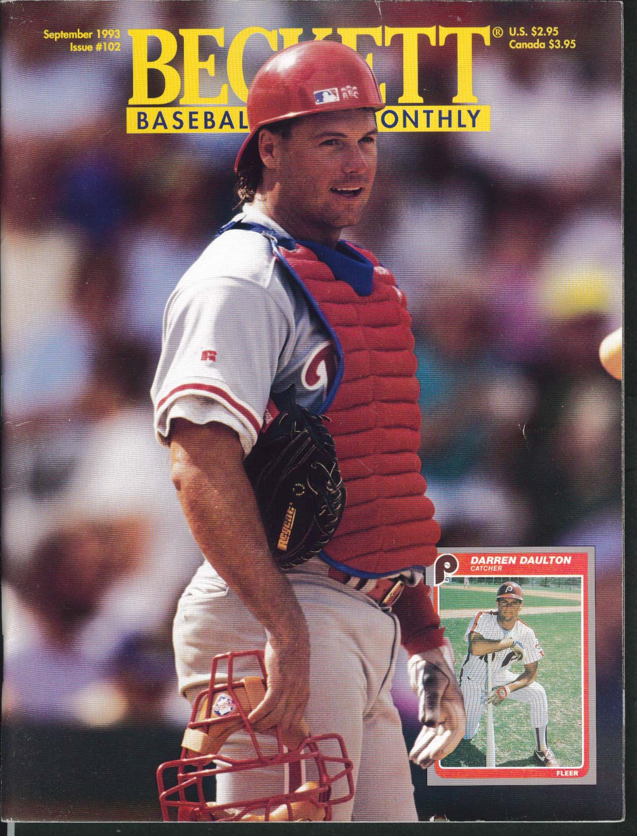 BECKETT BASEBALL CARD MONTHLY Darren Daulton Albert Belle John Kruk 8 1993