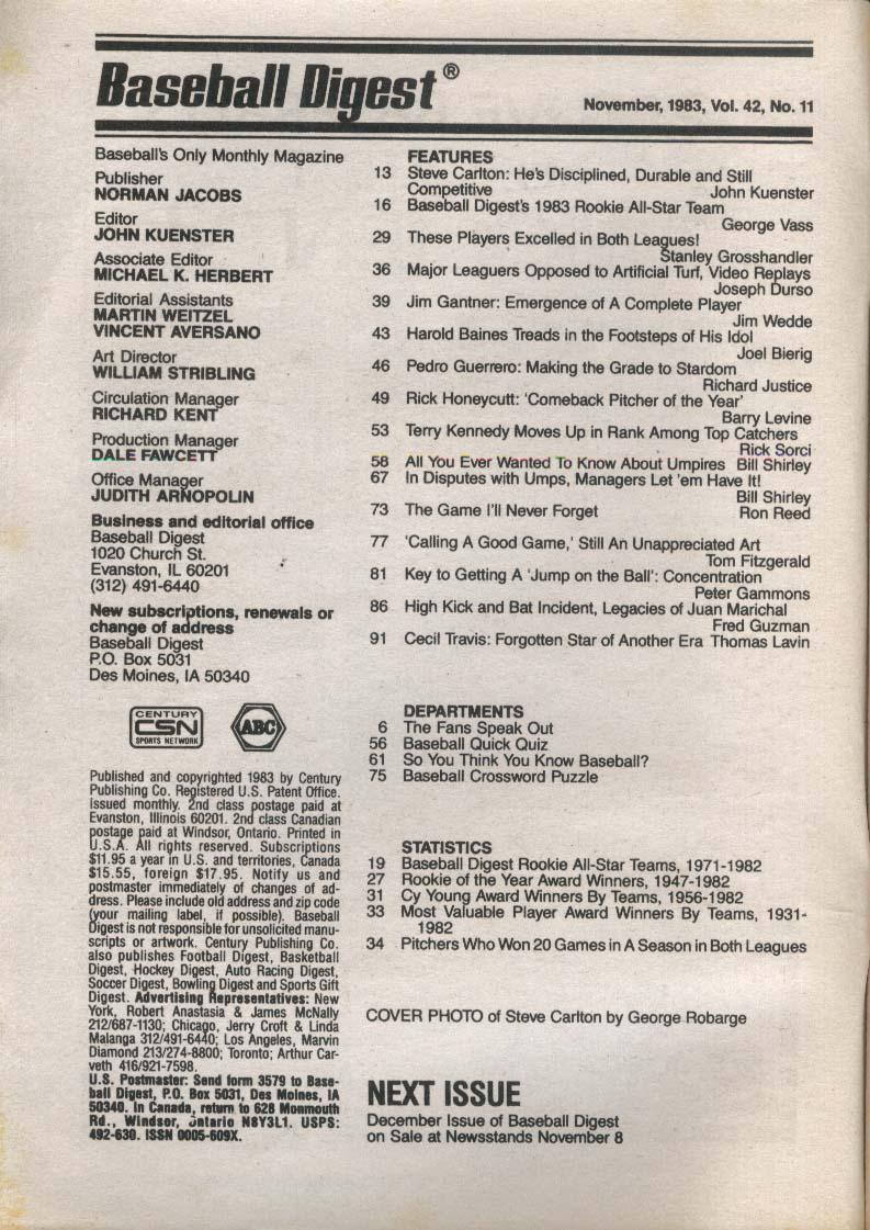 BASEBALL DIGEST Steve Carlton Terry Kennedy Jim Gantner Pedro Guerrero 11 1983