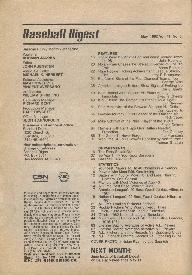 BASEBALL DIGEST Nolan Ryan Kirk Gibson Pete Vuckovich Dwayne Murphy 5 1982