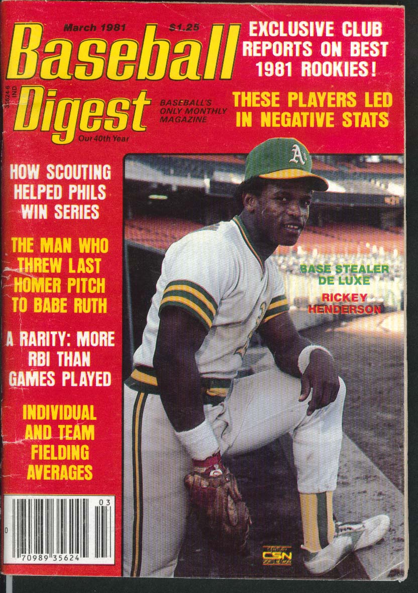 BASEBALL DIGEST Rickey Henderson Babe Ruth Rick Cerone World Series 3 1981