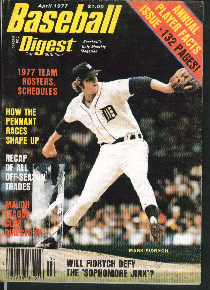 BASEBALL DIGEST Mark Fidrych Rick Monday Dave Winfield Mike Miley 4 1977