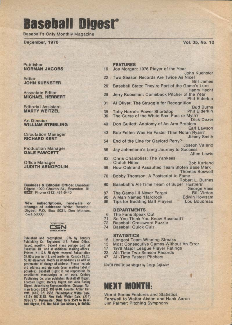 BASEBALL DIGEST Joe Morgan Jerry Koosman Al Oliver Toby Harrah 12 1976