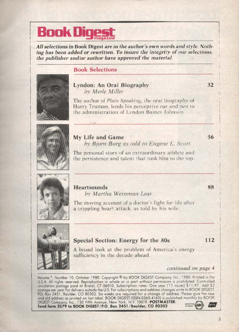 BOOK DIGEST Bjorn Borg Merle Miller Martha Weinman Lear 10 1980