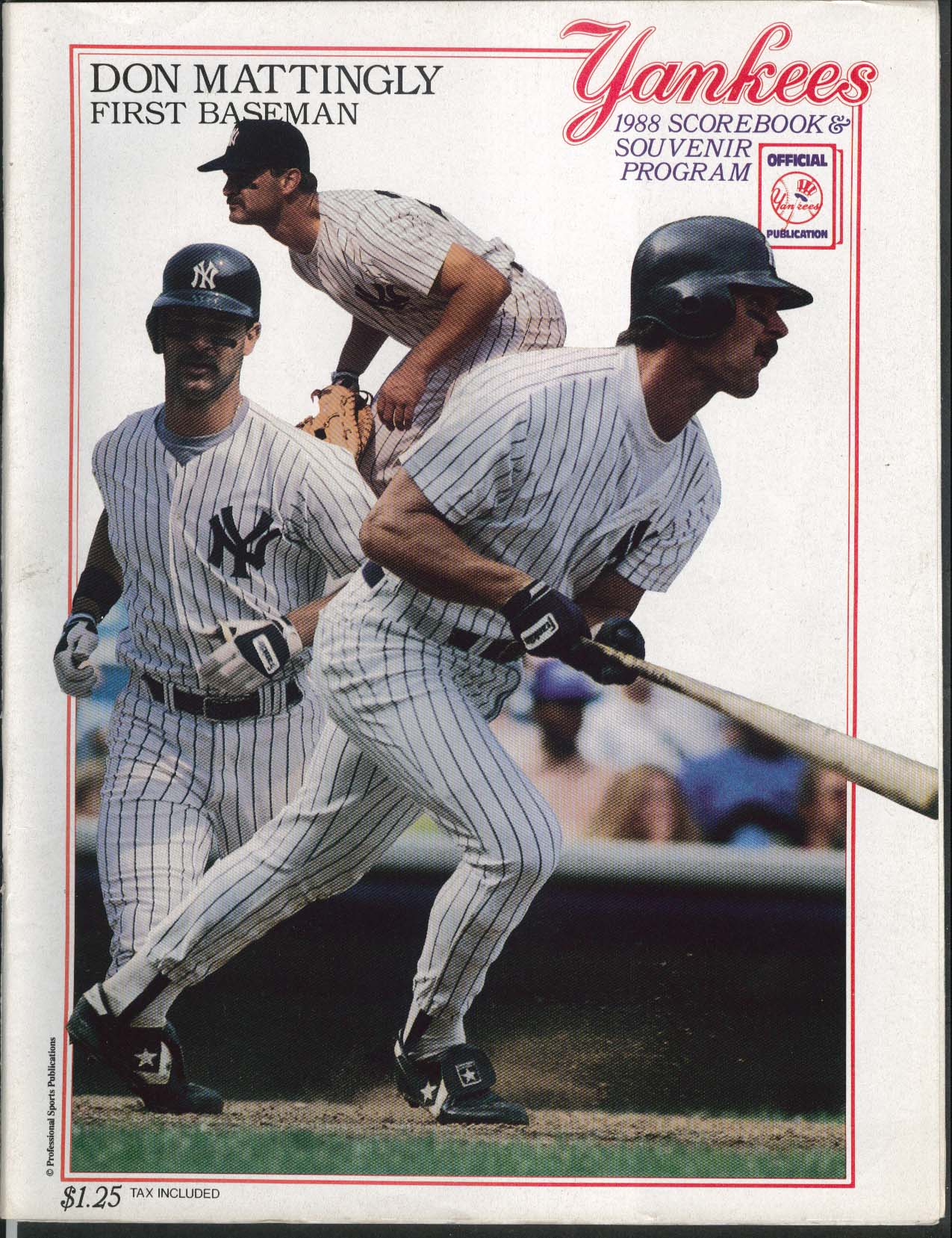 New York Yankees Official 1988 Scorebook Souvenir Program Kansas City Royals