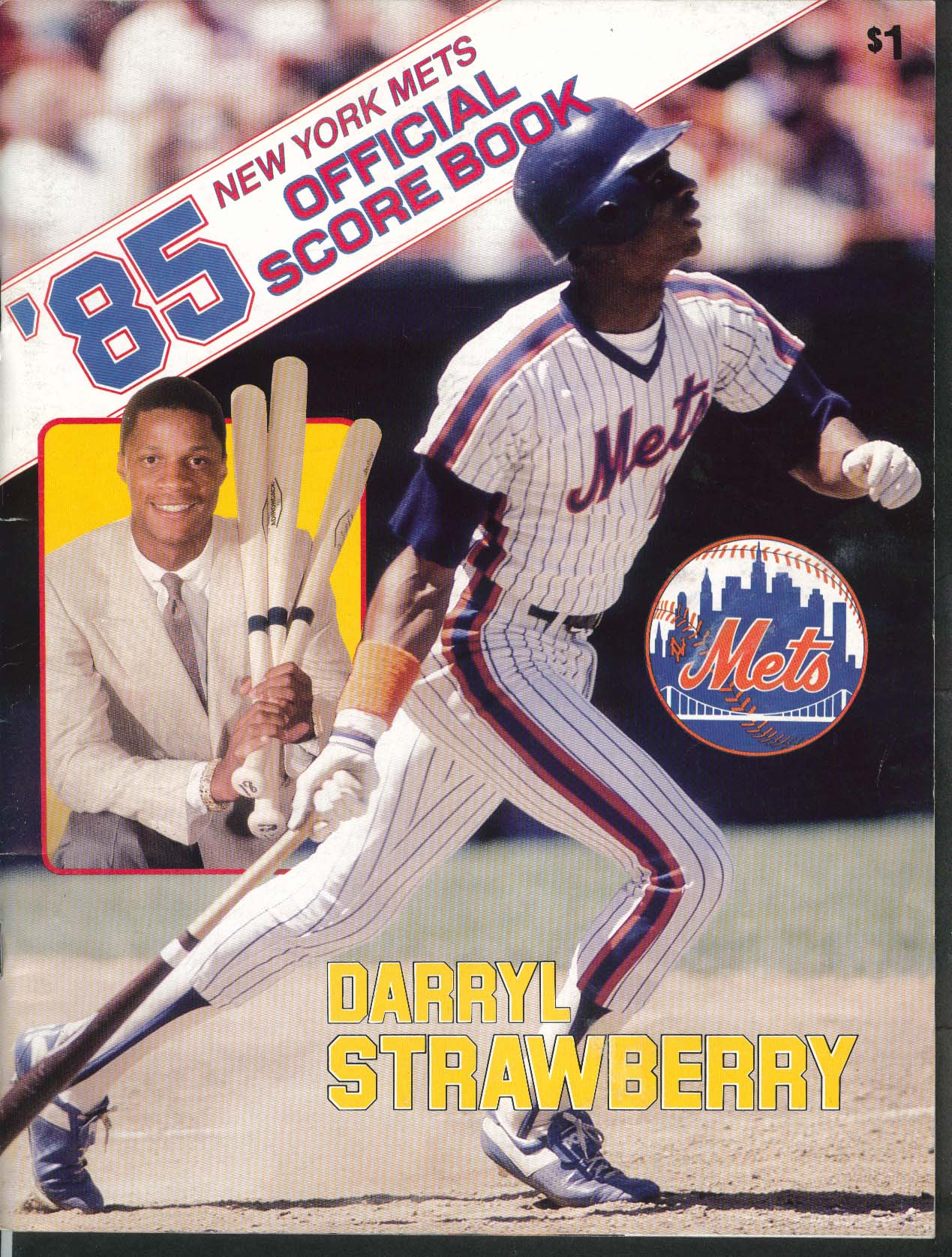 New York Mets Official Score Book 1985 Darryl Strawberry Scored vs Cubs
