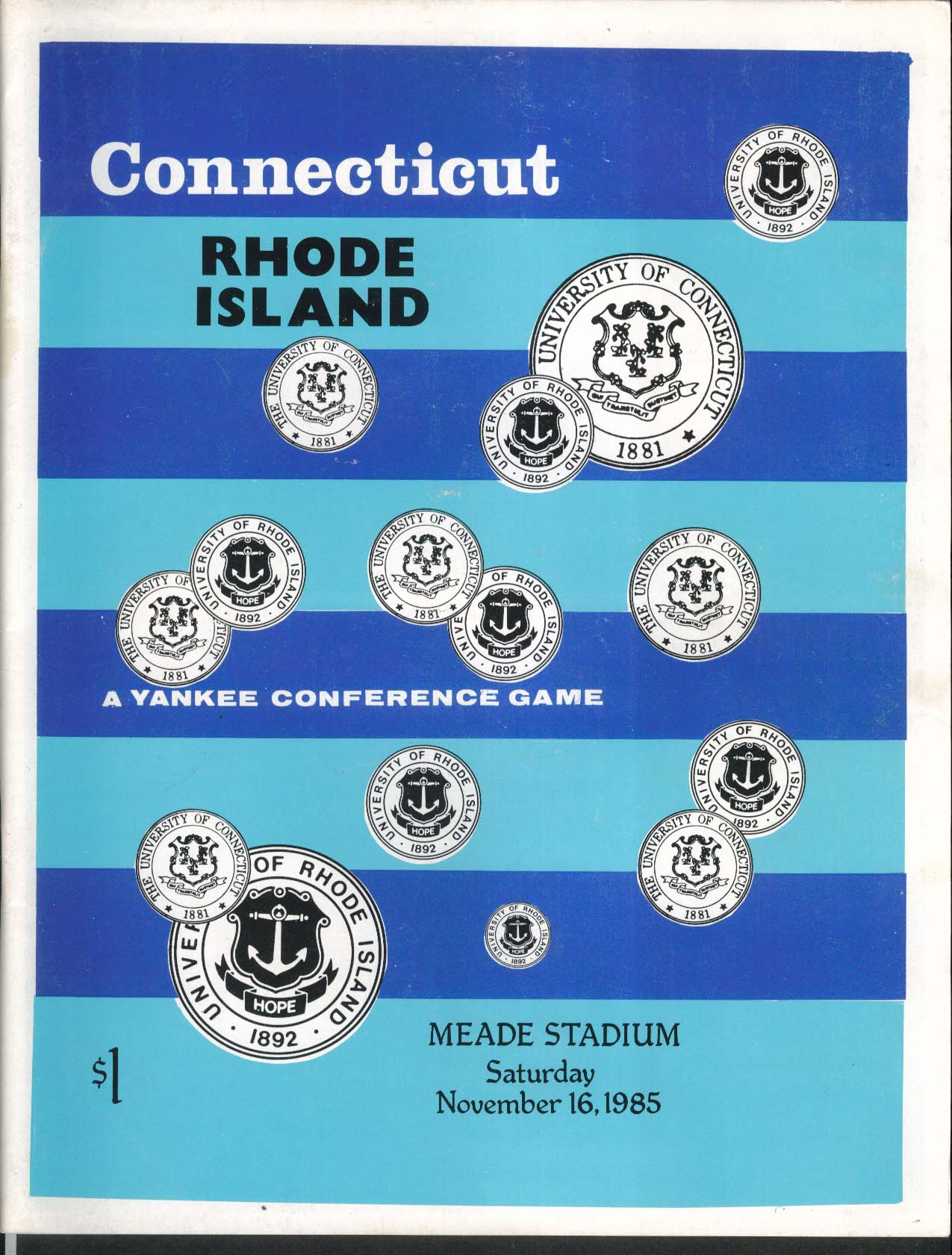 Image for Universtiy of Connecticut vs Rhode Island Football Program 11/16 1985