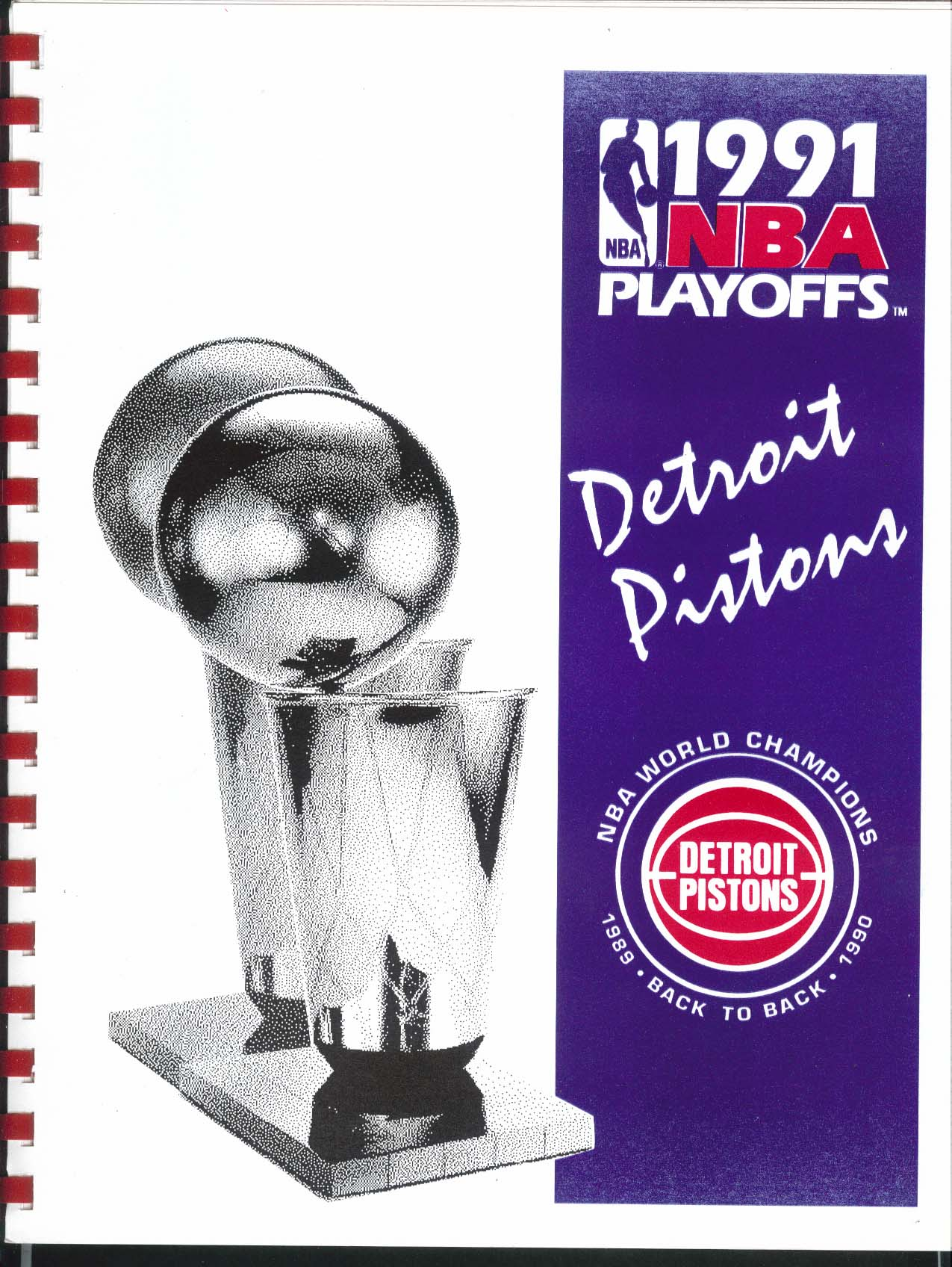 Image for 1991 NBA Playoffs Detroit Pistons Basketball Media Information Guide Book