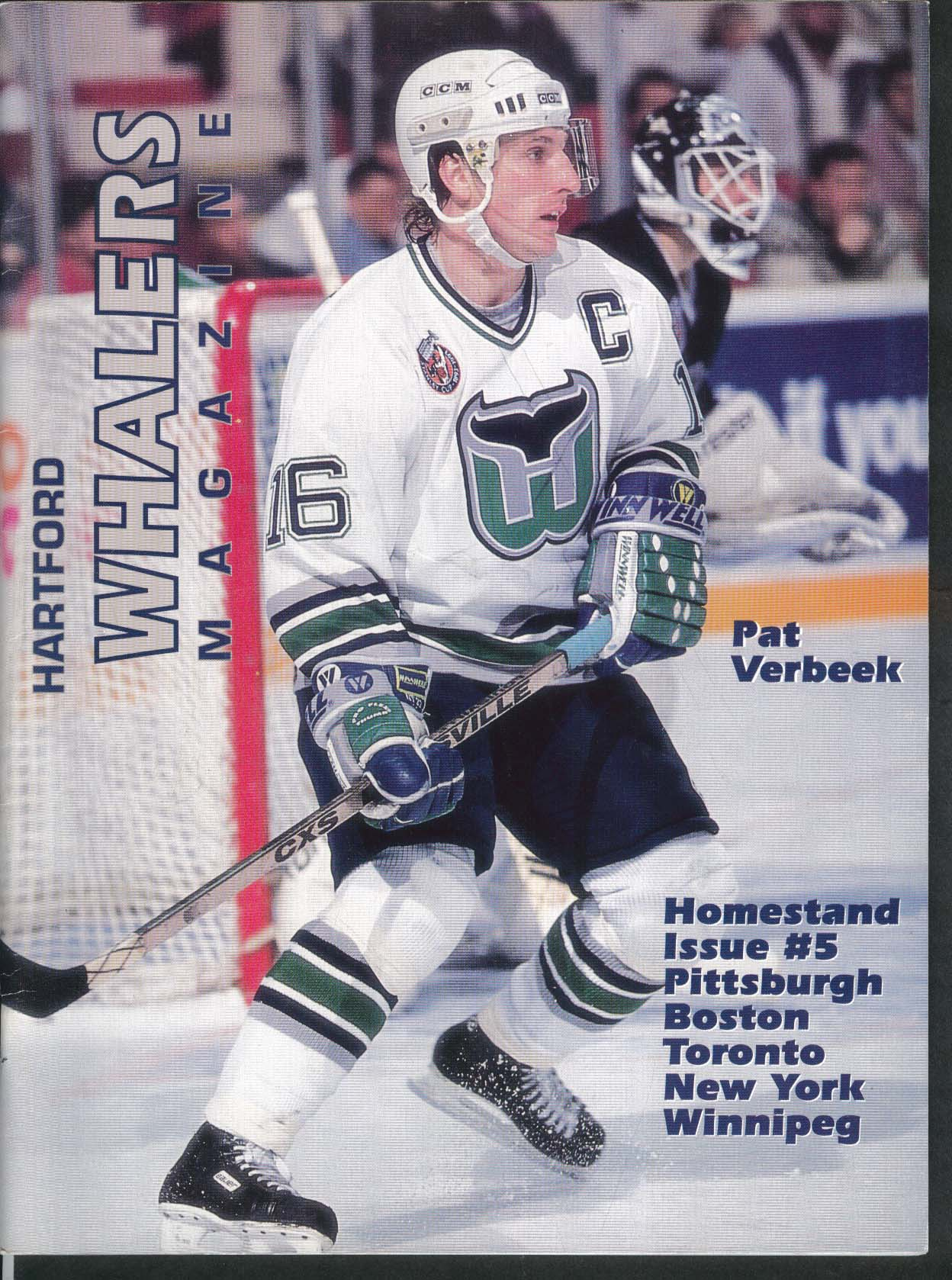 Hartford Whalers Magazine Pat Verbeek Homestand Issue #5 UNSCORED