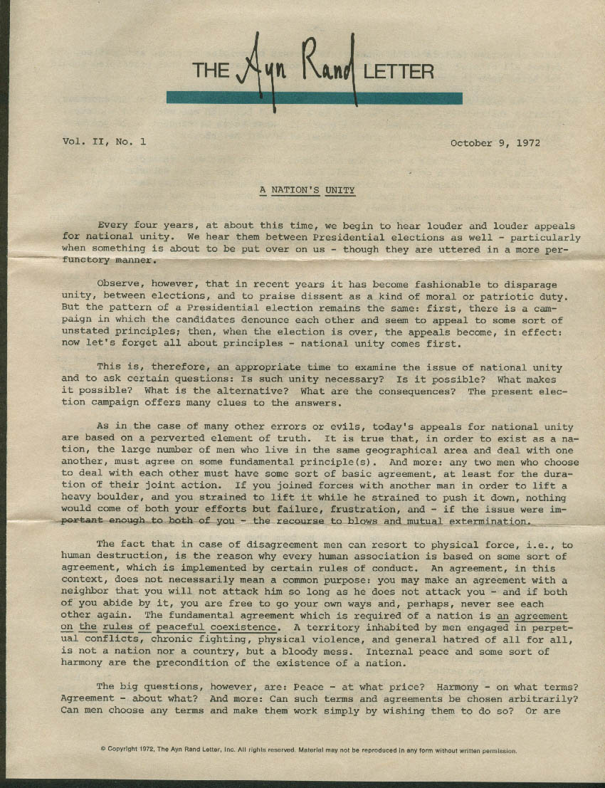 A Nation's Unity: The AYN RAND LETTER Volume II #1 10/9 1972