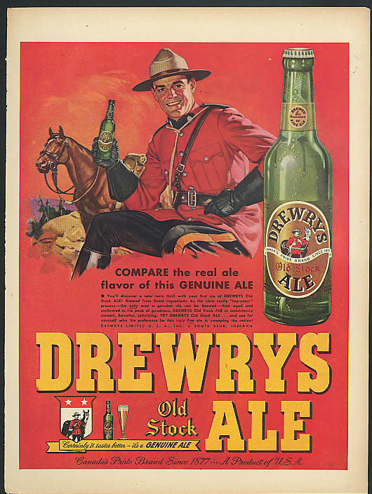 Compare the real ale flavor of Drewry's Old Stock Ale ad 1948