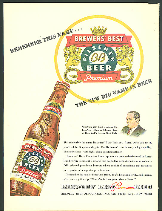 Remember this name Brewers' Best Pilsener Beer ad 1947