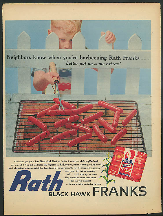 Image for Neighbors know when you're barbecuing Rath Franks ad 1956 hot dog frankfurter