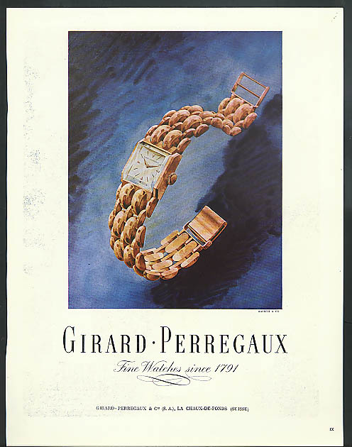 Girard-Perregaux Wrist Watch ad France ad 1948 wristwatch
