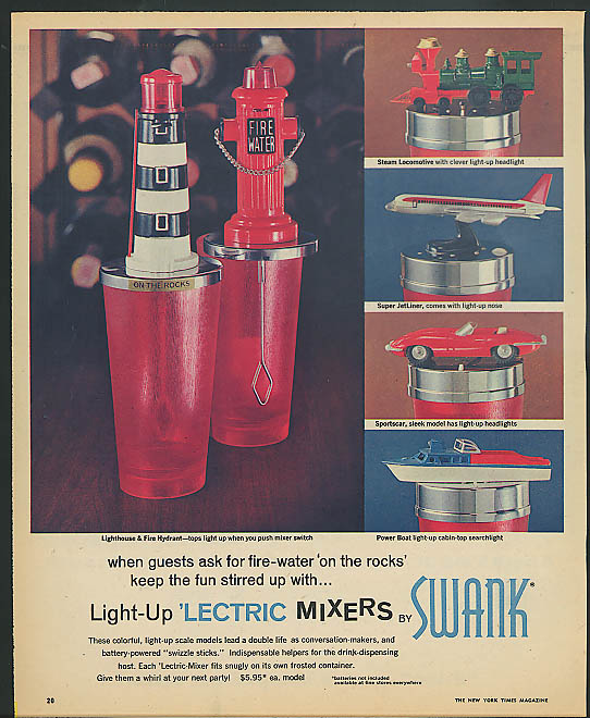 Swank Lectric Drink Mixers ad 1965 Jaguar XK-E jetliner fireplug
