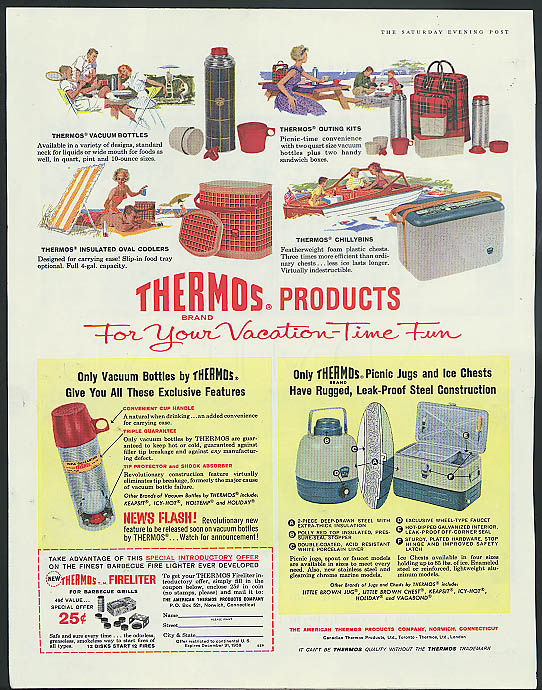 Thermos Products for your Vacation-Time Fun ad 1959 bottle cooler chillybin