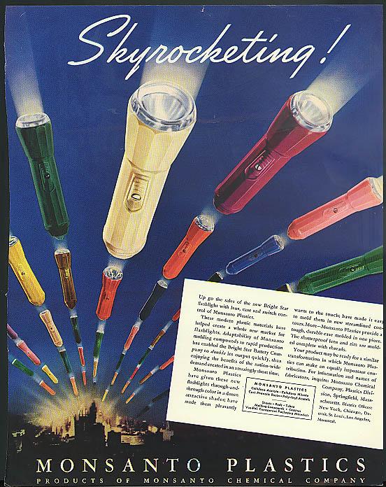 Skyrocketing! Monsanto Plastics Bright Star Flashlight ad 1939
