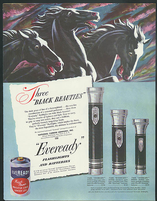 Image for Three Black Beauties Eveready Flashlight & Battery ad 1948