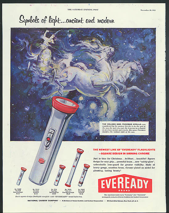 Image for Symbols of light ancient & modern Eveready Flashlight ad 1954