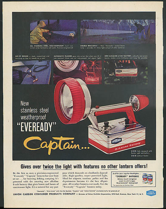 Image for Stainless steel weatherproof Eveready Captain Flashlight ad 1960