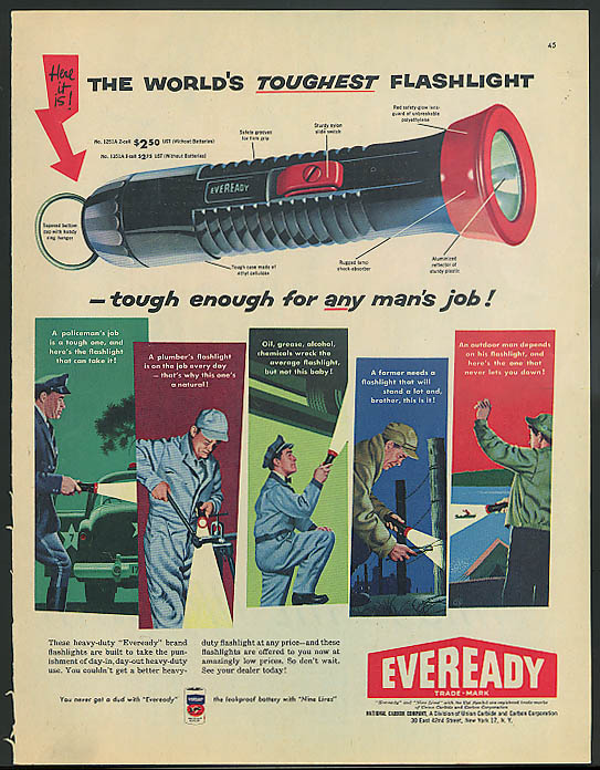 Image for World's Toughest Flashlight Eveready for any man's job ad 1956
