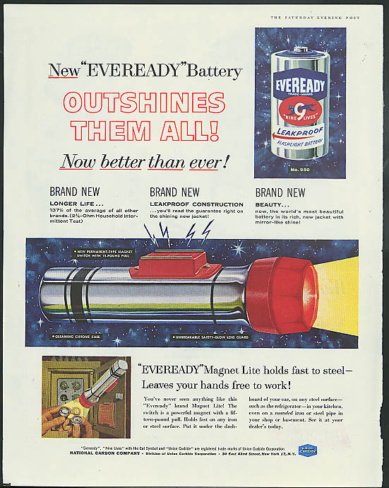 Outshines them all! Eveready Magnet Lite Flashlight & Battery ad 1958