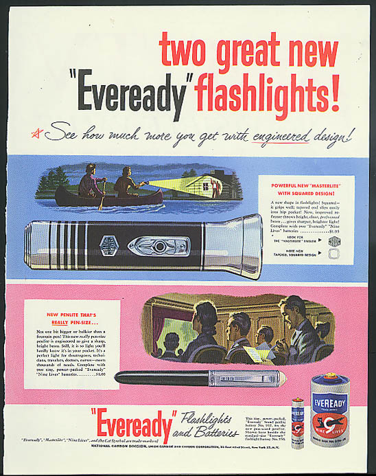 Two great new Eveready Flashlights! Masterlite & Pen-Lite ad 1950