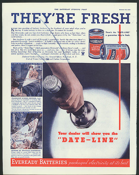 They're fresh! Eveready Flashlight & Battery ad 1934