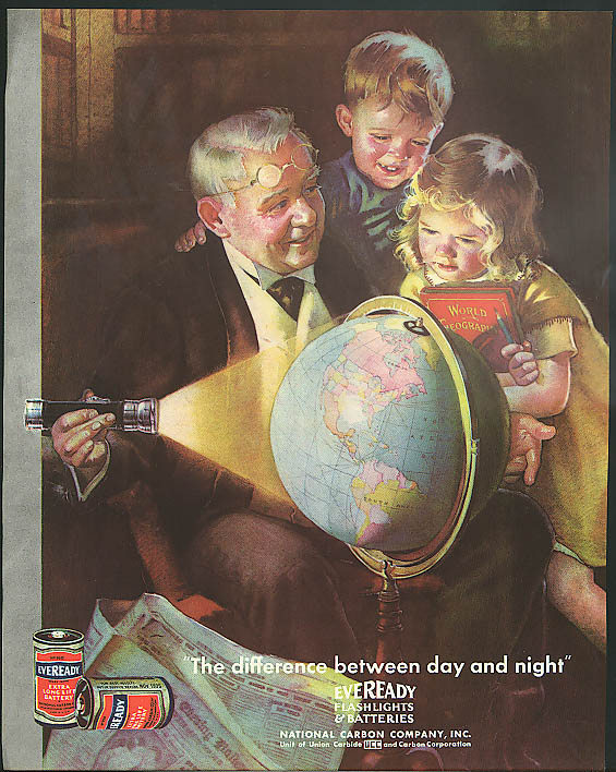 The difference between night & day Eveready Flashlight & Battery ad 1934 globe