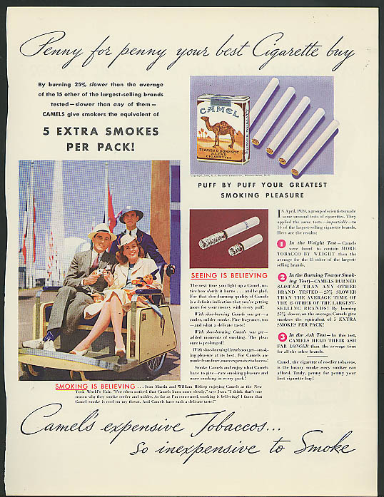 Image for Camel Cigarettes 5 extra smokes ad 1939 New York World's Fair
