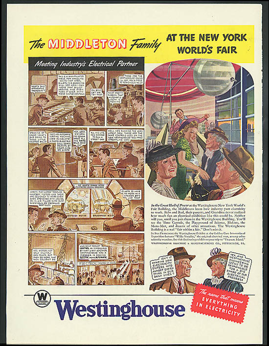 Middleton Family 1939 New York World's Fair ad Westinghouse Great Hall of Power