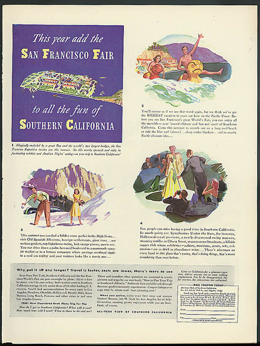 1939 San Francisco World's Fair All-Year Club of Southern California ad