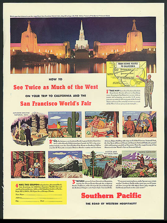 Southern Pacific RR to San Francisco World's Fair ad 1940
