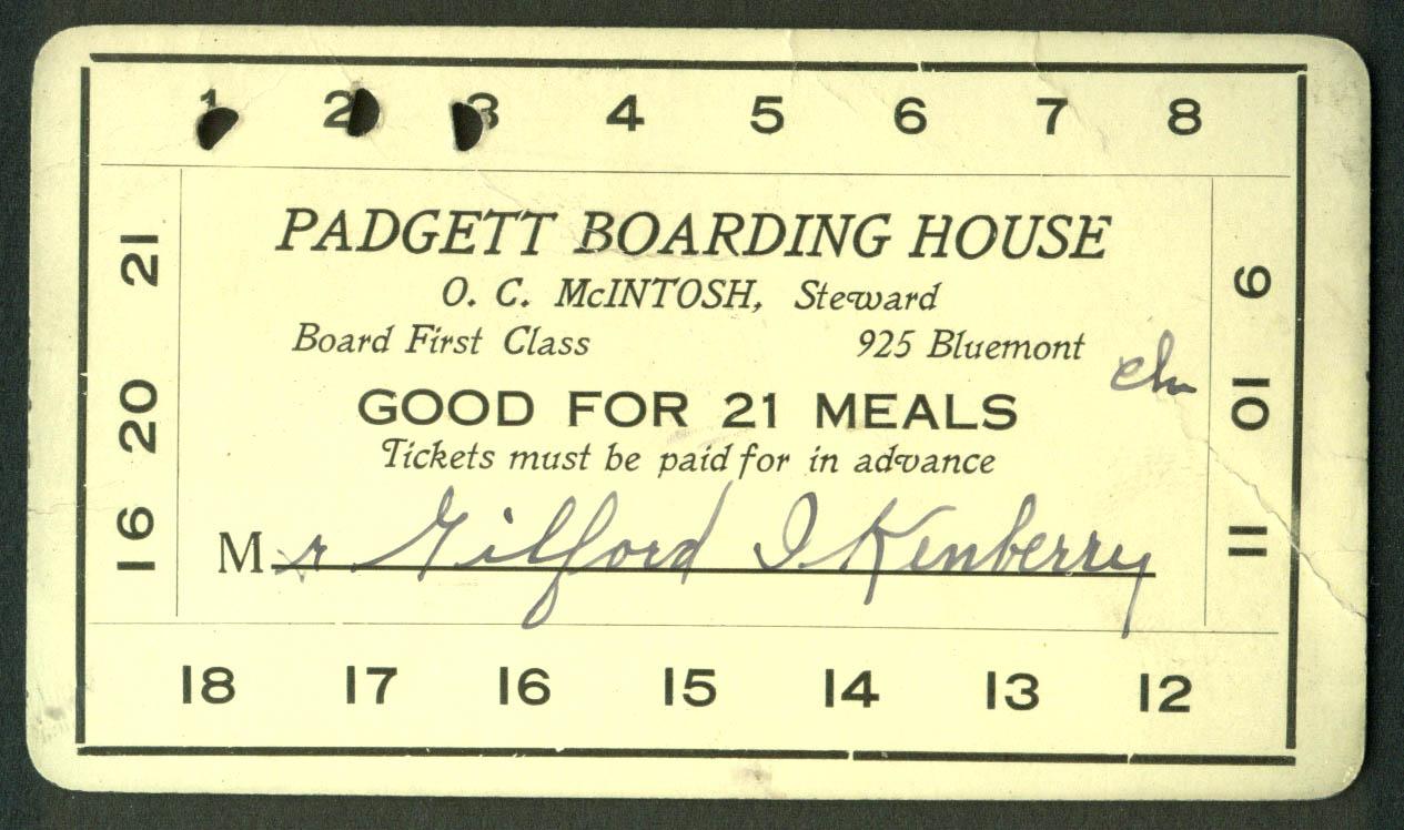 Padgett Boarding House 21 Meal Ticket Manhattan KS ca 1915